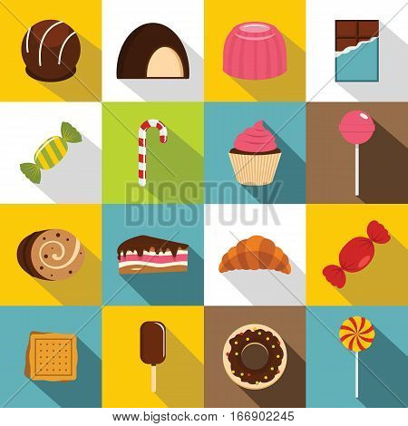 Sweets and candies icons set. Flat illustration of 16 sweets and candies vector icons for web