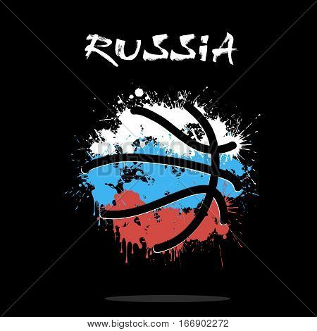 Abstract basketball ball painted in the colors of the Russia flag. Vector illustration