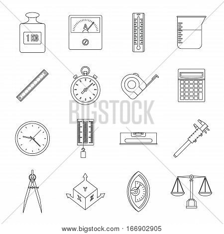 Measure precision icons set. Outline illustration of 16 measure precision vector icons for web