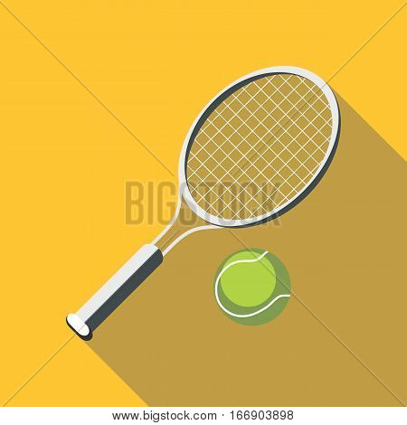 Tennis racket and ball icon. Flat illustration of tennis racket and ball vector icon for web design