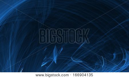 Abstract blue light and laser beams, fractals  and glowing shapes  multicolored art background texture for imagination, creativity and design.