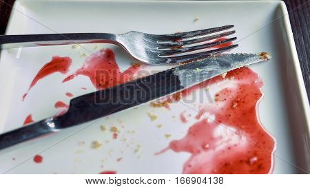 Close-up of empty white plate smeared with pink fruit syrup and crumbs, knife and fork placed on it. Remains of dessert. Detailed shot.