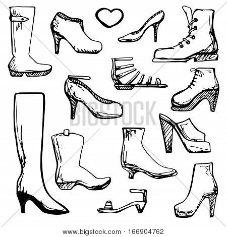 Sketch of different shoes. Vector illustration in a sketch style.