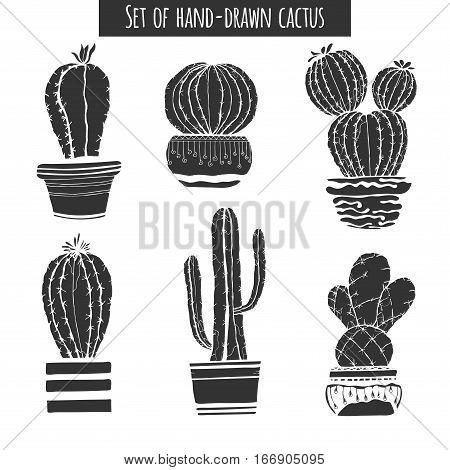 Set of black isolation of cacti on a white background. Vector illustration.