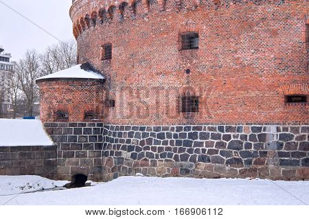 Tower of Der Dona now museum of Amber. Part of the german defensive fortifications in the Konigsberg. After Second World War Konigsberg was called Kaliningrad and became part of Russia. poster