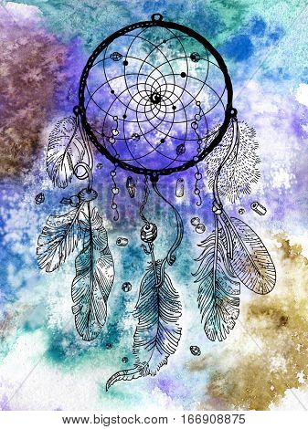 Drawing of dreamcatcher on the watercolor background