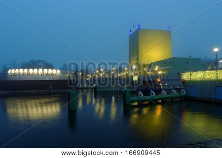 GRONINGEN, NETHERLANDS - DECEMBER 31, 2016: Building of Groningen Museum  in New Year Eve. The museum was opened in 1874, but the current post-modernist building was completed in 1994