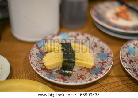 Egg Sushi, Tamago Sushi Japanese Food Closeup