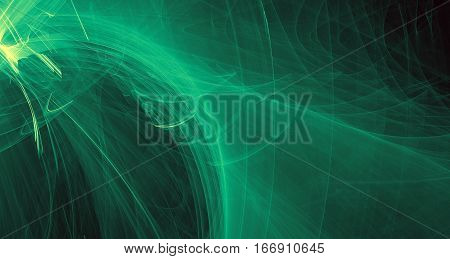 Abstract green light and laser beams, fractals  and glowing shapes  multicolored art background texture for imagination, creativity and design.