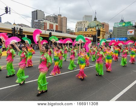 Women from Mainland China association in a parade for Australia day on Swanston street in Melbourne on 26/01/2017