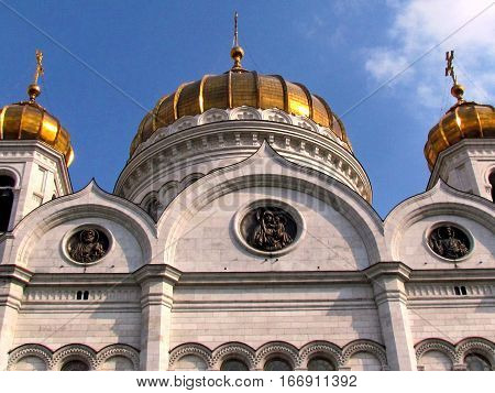 Central dome of Cathedral of Christ the Saviour in Moscow Russia April 30 2011