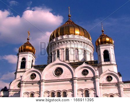 Domes of Cathedral of Christ the Saviour in Moscow Russia April 30 2011