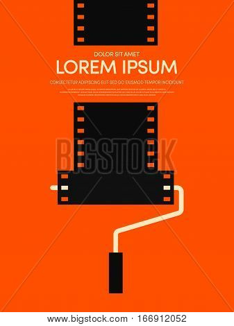 Movie and film modern retro vintage poster background paint roller with filmstrip concept vector illustration