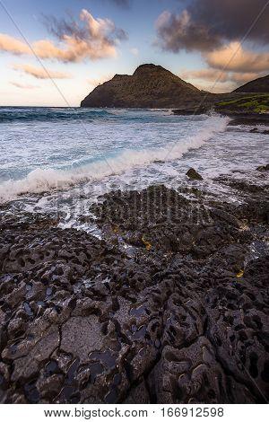 Beautiful Seascape Of Ocean On Big Island, Hawaii Usa