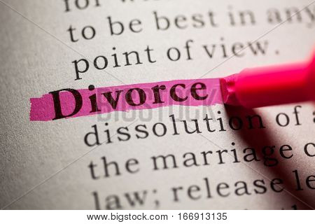 Fake Dictionary definition of the word Divorce.