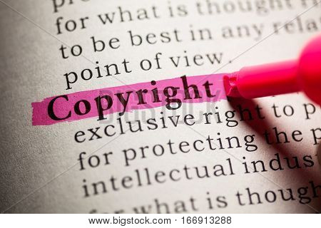 Fake Dictionary definition of the word Copyright.