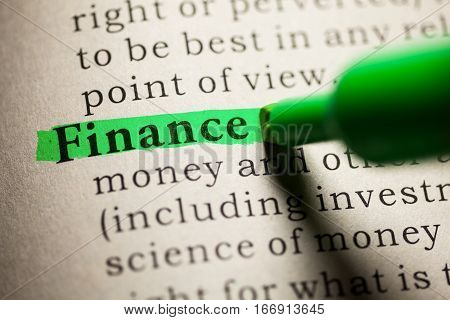 Fake Dictionary definition of the word Finance.