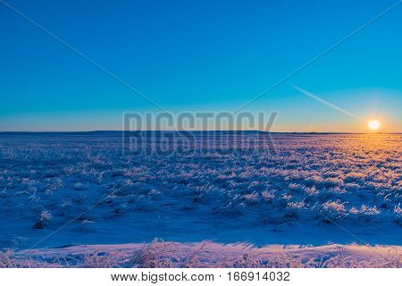 A Frigid and frosty Sunrise on the Eastern Plains Colorado