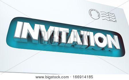 Invitation Envelope Special Message Event Announcement 3d Illustration