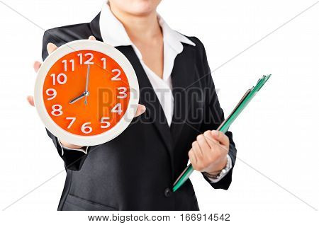 Business wooman showing clock with holding document isolated on white background.