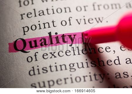 Fake Dictionary definition of the word quality.