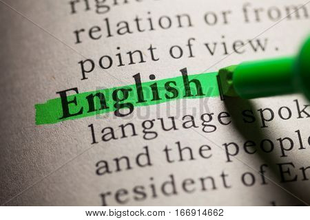 Fake Dictionary definition of the word english.