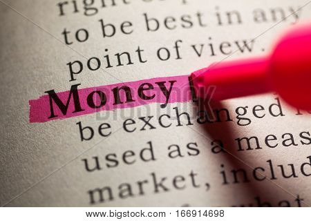 Fake Dictionary definition of the word money.
