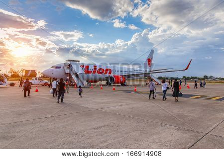 UBON RATCHATHANI THAILAND-JANUARY 9 16: Boeing 737-900 Thai Lion Air landed at Ubon Ratchathani Airport Bangkok Thailand on January 9 2016.Thai Lion Airways is the new low cost airline in Thailand.