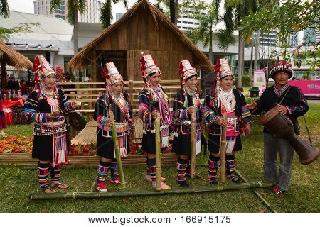 BANGKOK THAILAND - January 25 2017 : Thailand Tourism Festival 2017 DETAIL;Date 25 - 29 Jan 2017 Venue: Lumpini Park Bangkok. Activities: Five regional tourism villages that display the way of life of the Thai people in each region and to publicize and co