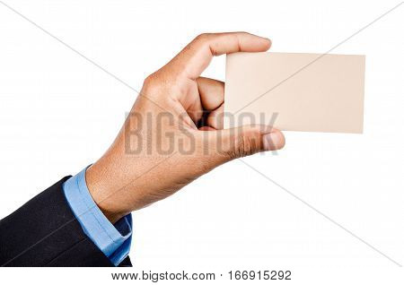Hand of businessman holding blank business card isolated on whtie background Clipping path.