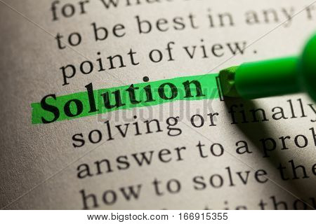 Fake Dictionary definition of the word solution.