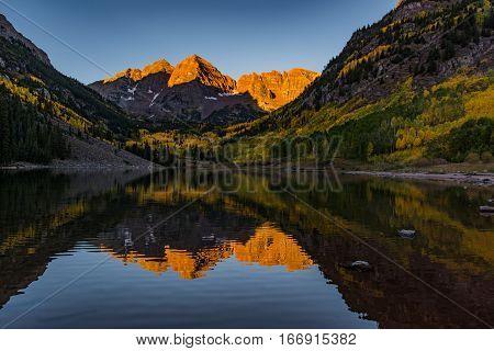 Maroon Bells on a Fall Sunrise Aspen Colorado