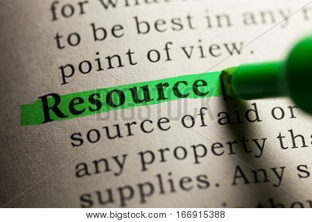 Fake Dictionary definition of the word resource.
