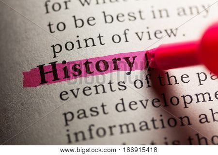 Fake Dictionary definition of the word history.