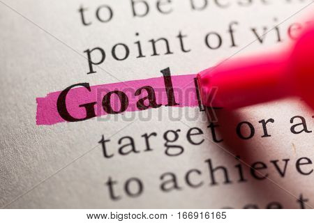 Fake Dictionary definition of the word goal.