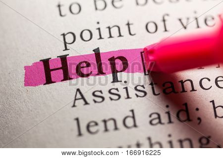 Fake Dictionary definition of the word help.