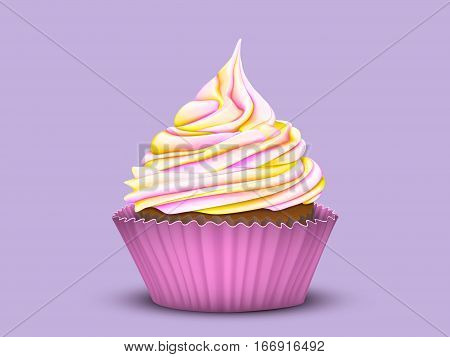 Pretty cupcake charm with multi-color gradient cream in a pink mold on a lilac background. Vector stylized 3D