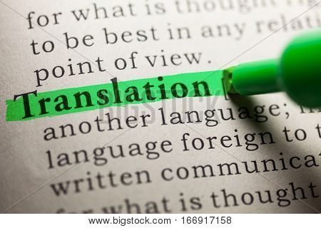 Fake Dictionary definition of the word Translation.