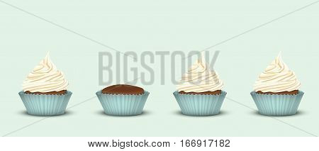 Set of 3 cupcakes with cream twisted one line in the turquoise plates and one cake without a cream. 3D simulation