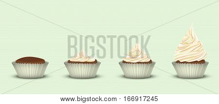 Set of 4 cupcakes in one line in tins. Starting without the cream and ending with ascending three-tier cream. The green background. 3D simulation