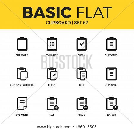 Basic set of clipboard check form, text form icons. Modern flat pictogram collection. Vector material design concept, web symbols and logo concept.