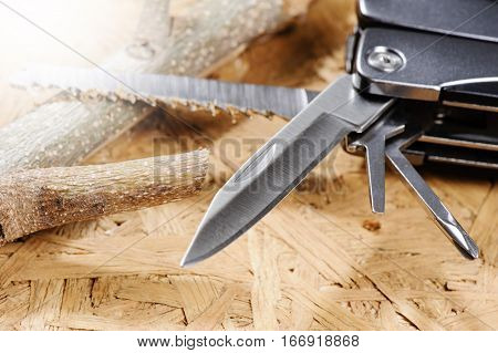 closeup multifunction stainless steel knife, isolated tool