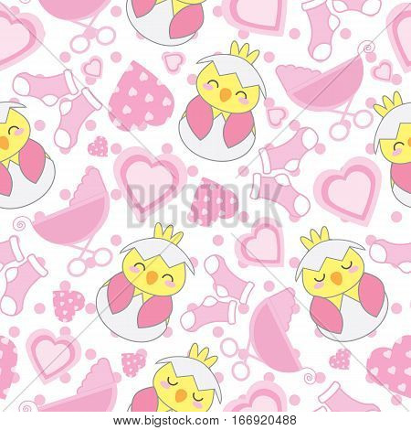Baby shower seamless background with cute chick, baby cart, sock, and love shape on polka dot background suitable for baby shower wallpaper, scrap paper, and fabric