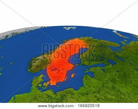 Sweden In Red From Orbit