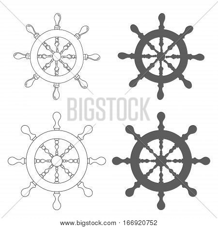 Set of Vintage marine steering wheel Vector illustration