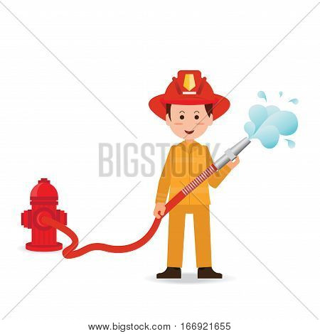 Fireman spraying a water hose isolated on white background cartoon character flat design vector illustration.