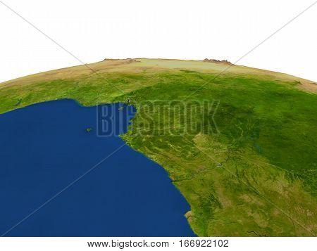 Gabon In Red From Orbit