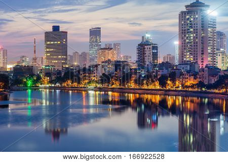 Aerial Skyline View Of Hanoi. Hanoi Cityscape At Twilight