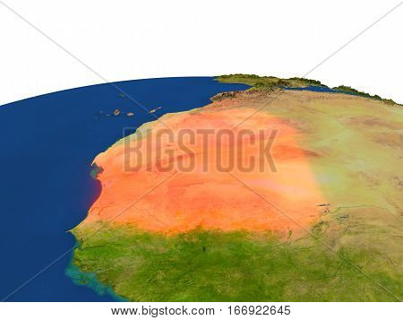 Mauritania In Red From Orbit