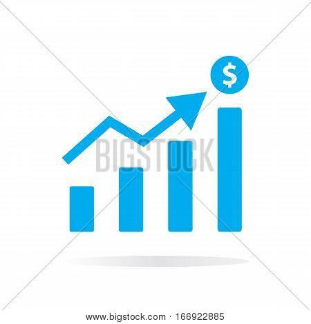 blue chart icon on white background. blue chart sign.